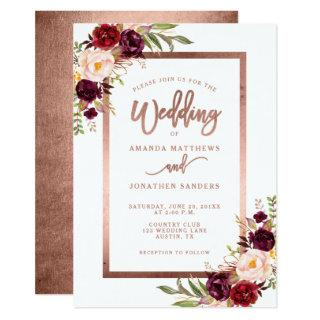 Burgundy Red Floral Rose Gold Script Wedding Invitation