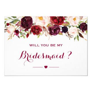 Burgundy Red Floral Will You Be My Bridesmaid Invitation