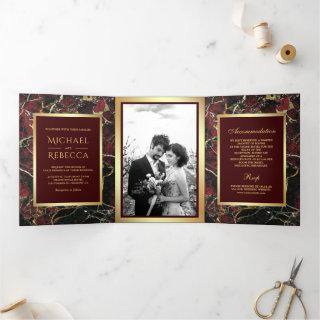Burgundy Red Marble Faux Gold Foil Photo Wedding Tri-Fold Invitation