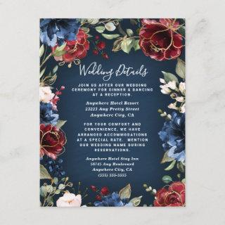 Burgundy Red Navy Blue Gold and Blush Pink Wedding Enclosure Card