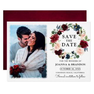 Burgundy Red Navy Blush Floral Save the Date Invitations