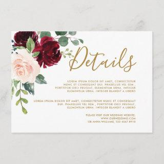 Burgundy Red Navy Floral Rustic Wedding Details Enclosure Card