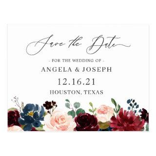 Burgundy Red Navy Floral Wedding Save the Date Postcard