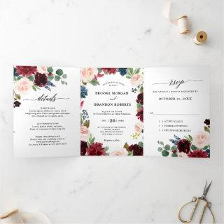 Burgundy Red Navy Trifold Wedding Invitation