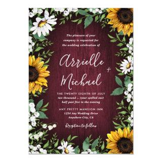 Burgundy Red Sunflower Greenery Wreath Wedding Invitations