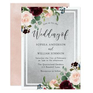 Burgundy Red Wine Blush Flowers & Silver Wedding Invitation