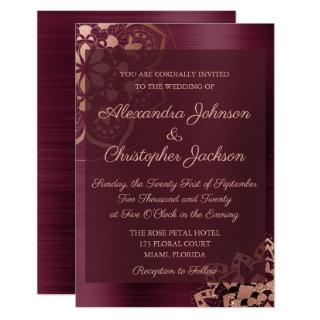 Burgundy & Rose Gold Mandala Wedding Invitations
