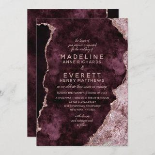 Burgundy & Rose Gold Marbled Agate Wedding Invitations