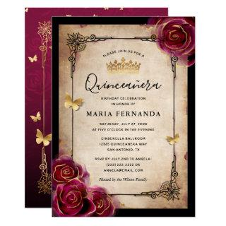 Burgundy Rose Gold Watercolor Elegant Quinceanera Invitation