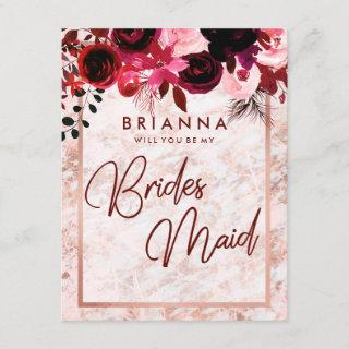 Burgundy & Rose Gold Will You Be My Bridesmaid Invitation