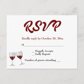 Burgundy RSVP Champagne Wine Glasses Wedding Invitation Postcard