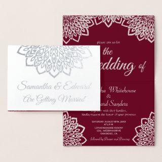 Burgundy Silver Elegant Wedding Invitations