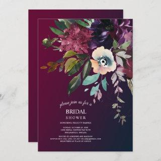 Burgundy Splendor Boho Floral Bridal Shower Invitations