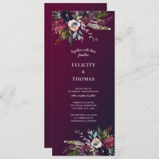 Burgundy Splendor Boho Floral Wedding Invitation