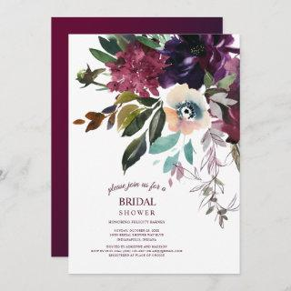 Burgundy Splendor Boho Floral White Bridal Shower Invitations