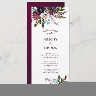 Burgundy Splendor Boho Floral White Wedding Invitations