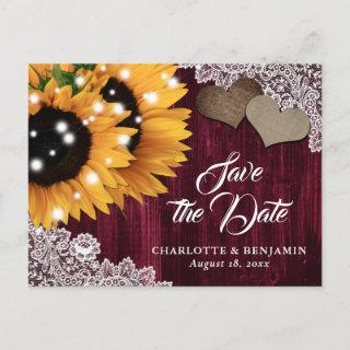 Burgundy Sunflower Wedding Save The Date Postcard