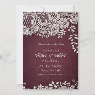 Burgundy vintage lace rustic weddng save the date