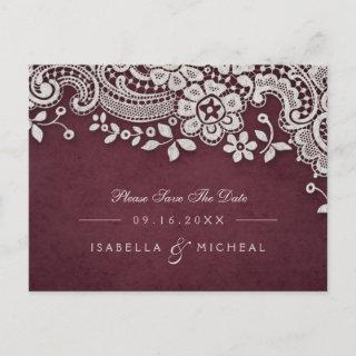 Burgundy vintage lace rustic weddng save the date announcement postcard