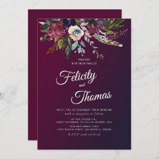 Burgundy Watercolor Floral Wedding Invitation