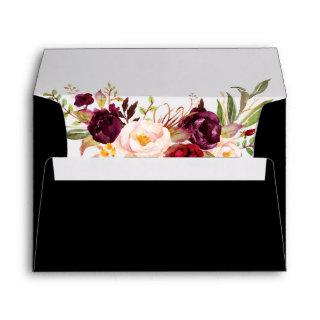 Burgundy Watercolor Floral Wedding Invitations Blk Envelope