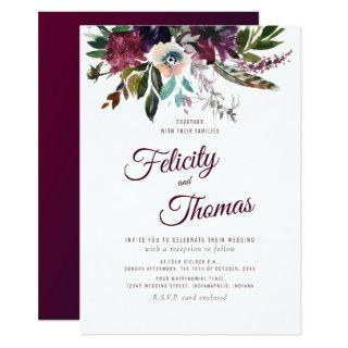 Burgundy Watercolor Floral White Wedding Invitations