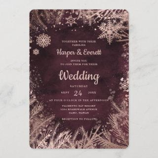 Burgundy Watercolor with Rose Gold Winter Wedding Invitations