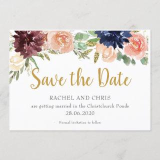 Burgundy Watercolour Fall Wedding Save The Date Invitations