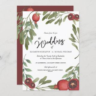 Burgundy Wedding Green Leaves Modern Botanical Invitations