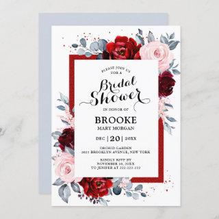 Burgundy Wine Dusty Blue Slate Bridal Shower Invitation