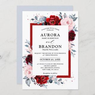 Burgundy Wine Dusty Blue Slate Floral Wedding Invitations