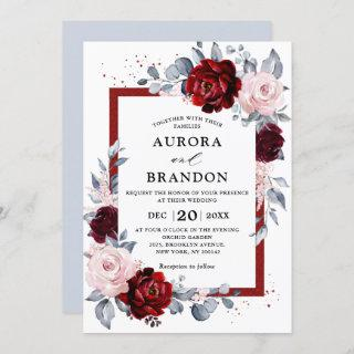Burgundy Wine Dusty Blue Slate Floral Wedding Invitation