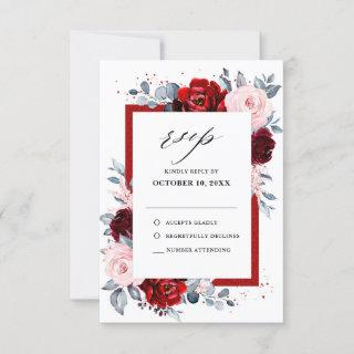 Burgundy Wine Dusty Blue Slate Floral Wedding RSVP Card