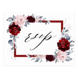 Burgundy Wine Dusty Blue Slate Floral Wedding RSVP Postcard