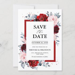Burgundy Wine Dusty Blue Slate Save the Date