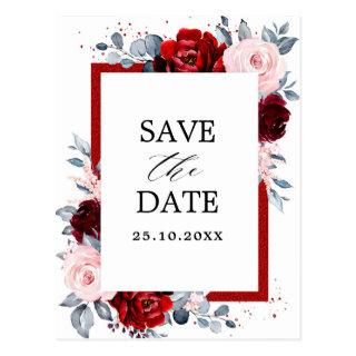 Burgundy Wine Dusty Blue Slate Save the Date Postcard