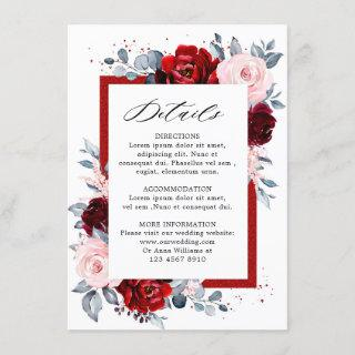 Burgundy Wine Dusty Blue Slate Wedding Details Enclosure Card