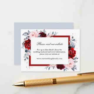 Burgundy Wine Dusty Blue Slate Wedding Reception Enclosure Card