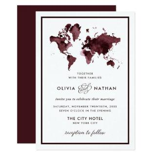 Burgundy World Map | Elegant Travel Theme Wedding Invitation