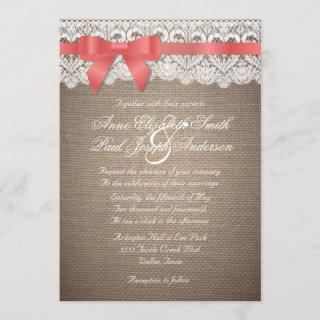 Burlap and Lace coral bow Wedding Invitation