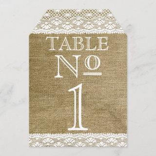 Burlap and Lace Look Typography Table Numbers