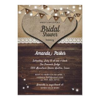 Burlap and Lace Rustic Bridal Shower Invitations