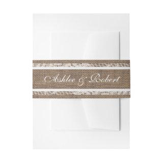 Burlap and Lace Rustic Vintage Romance Invitations Belly Band
