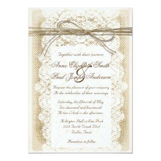 Burlap and Lace twine bow Wedding Invitations