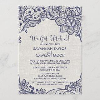 Burlap and Navy Lace   Floral Elopement Reception Invitations