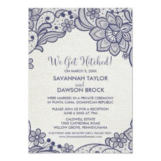 Burlap and Navy Lace | Floral Elopement Reception Invitation