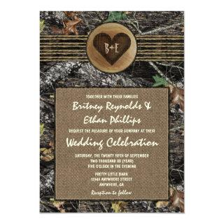 Burlap + Carved Heart Camo Wedding Invitations