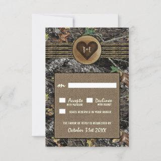 Burlap + Carved Heart Camo Wedding RSVP Cards