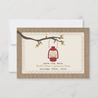 Burlap Inspired Oil Lantern Fall Save The Date