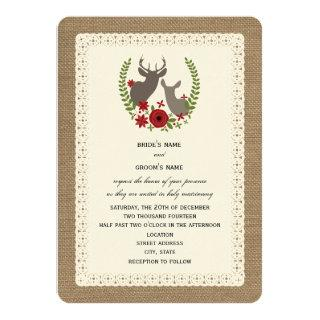 Burlap + Lace Inspired Christmas Wedding Deer Invitations